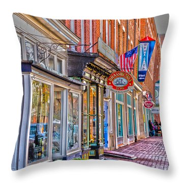 Throw Pillow featuring the photograph Federal Hill Storefronts by William Norton