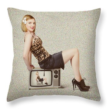 Female Television Show Actress On Old Tv Set Throw Pillow by Jorgo Photography - Wall Art Gallery