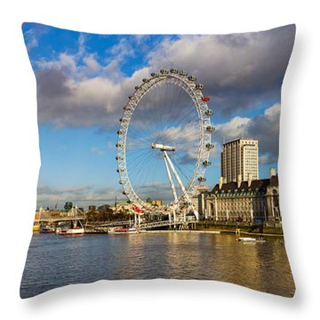 Ferris Wheel At The Waterfront Throw Pillow