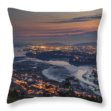 Ferrol's Ria Panorama From Mount Ancos Galicia Spain Throw Pillow