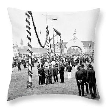 Throw Pillow featuring the photograph Festival Place Millerntor Hamburg Germany 1903 by A Gurmankin
