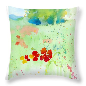 Throw Pillow featuring the painting Field Of Flowers by C Sitton