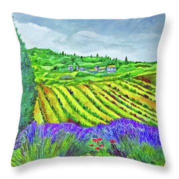 Fields At Dievole Throw Pillow