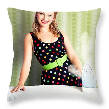 Fifties Classic Portrait Retro House Work Woman  Throw Pillow