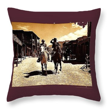Film Homage Mark Slade Cameron Mitchell Riding Horses The High Chaparral Old Tucson Az C.1967-2013 Throw Pillow by David Lee Guss