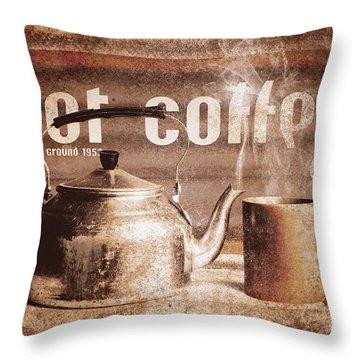 Fine Art Coffee Shop Tin Sign Insignia Throw Pillow