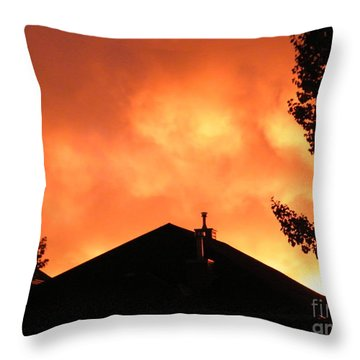 Throw Pillow featuring the photograph Fire In The Sky by Ann E Robson