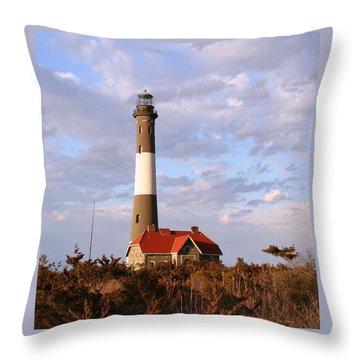 Throw Pillow featuring the photograph Fire Island Lighthouse by Karen Silvestri