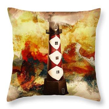Fire On Lighthouse Hill Throw Pillow