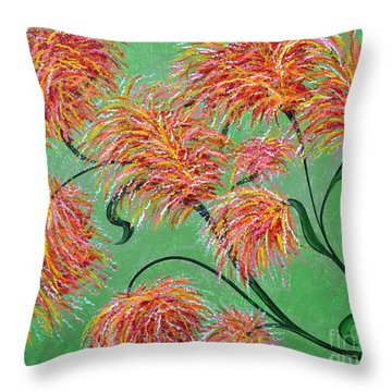 Throw Pillow featuring the painting Fireworks by Alys Caviness-Gober