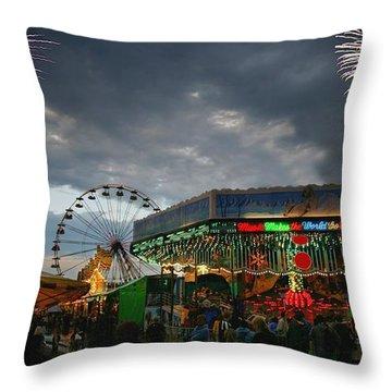 Fireworks At An Amusement Park Throw Pillow by Darren Greenwood