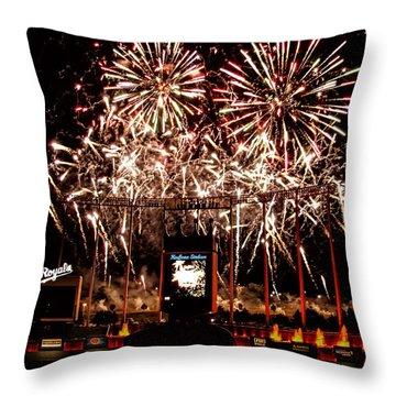 Fireworks At Kauffman Stadium Throw Pillow by Alan Hutchins