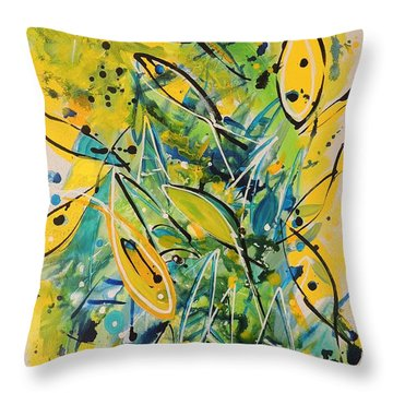 Throw Pillow featuring the painting Fish Frenzy by Lyn Olsen