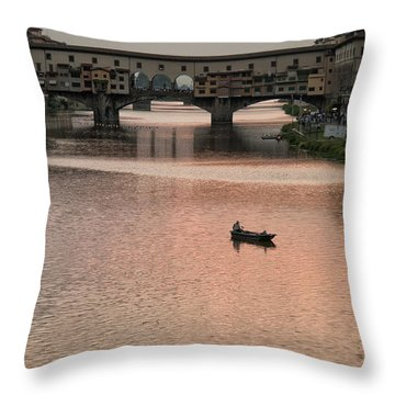 Fishing At Sunset Throw Pillow by Melany Sarafis
