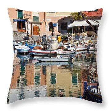 fishing boats in Camogli  Throw Pillow