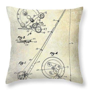 Fishing Reel Patent 1939 Throw Pillow