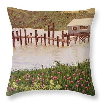 Fishing Shack Throw Pillow