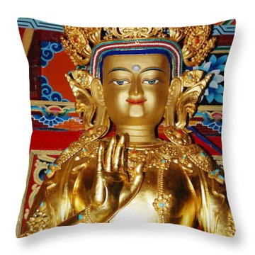 Five Dhyani Buddhas Throw Pillow by Lanjee Chee