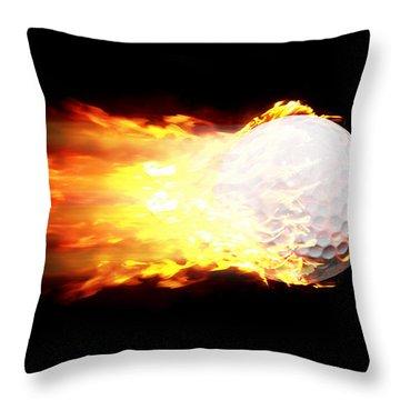 Flame Golf Ball Throw Pillow