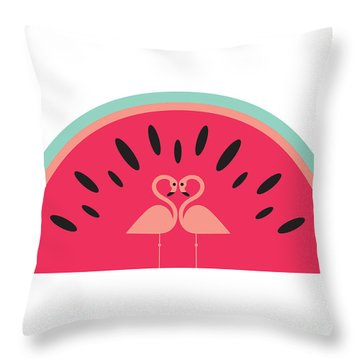 Flamingo Watermelon Throw Pillow by Susan Claire