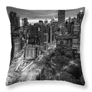 Flatiron District Birds Eye View Throw Pillow by Susan Candelario