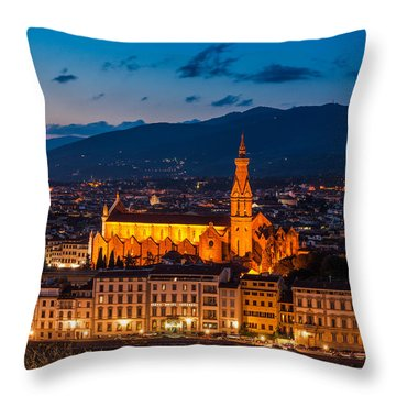 Florence City At Night Throw Pillow