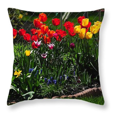 Flower Garden Throw Pillow by Frozen in Time Fine Art Photography