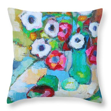 Throw Pillow featuring the painting Flowers In Green Vase by Becky Kim