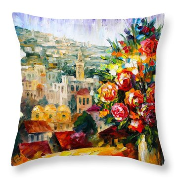 Flowers Of Jerusalem Throw Pillow by Leonid Afremov