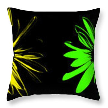 Throw Pillow featuring the digital art Flowers On Black by Maggy Marsh