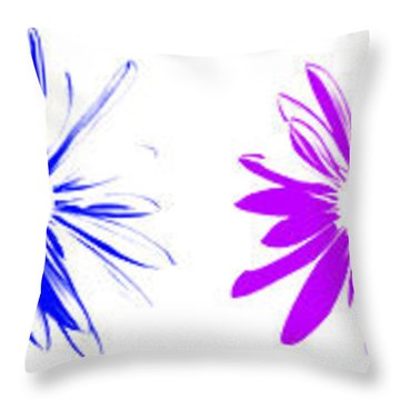 Throw Pillow featuring the digital art Flowers On White by Maggy Marsh
