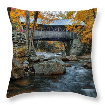 Flume Gorge Covered Bridge Throw Pillow by Jeff Folger