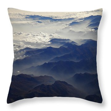 Flying Over The Alps In Europe Throw Pillow