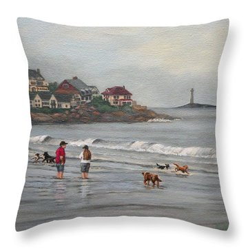 Fog Rolling In On Good Harbor Beach Throw Pillow