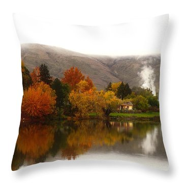 Throw Pillow featuring the photograph Foggy Fall Morning 2 by Lynn Hopwood