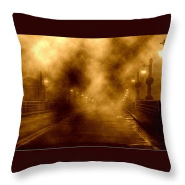 Throw Pillow featuring the photograph Foggy Night At The Bridge by Holly Martinson
