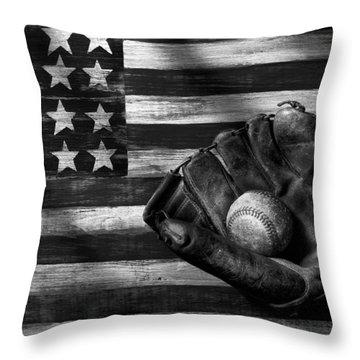 Folk Art American Flag And Baseball Mitt Black And White Throw Pillow