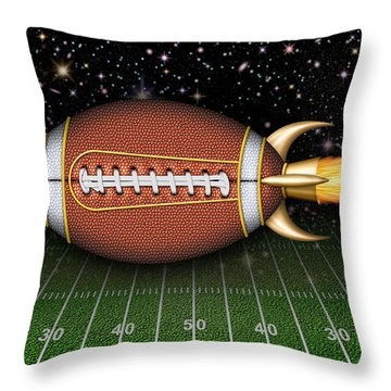 Football Spaceship Throw Pillow
