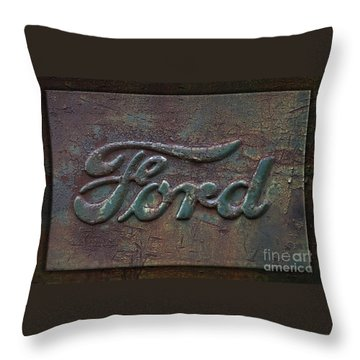 Detail Old Rusty Ford Pickup Truck Emblem Throw Pillow