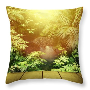 Forest Light Throw Pillow by Les Cunliffe
