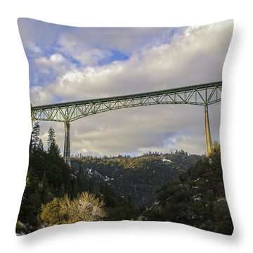 Foresthill Bridge In The Snow Throw Pillow by Sherri Meyer