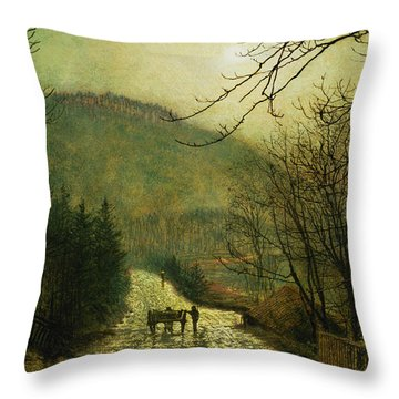 Forge Valley Throw Pillow by John Atkinson Grimshaw