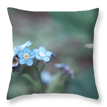 Forget Me Not Throw Pillow by Rachel Mirror