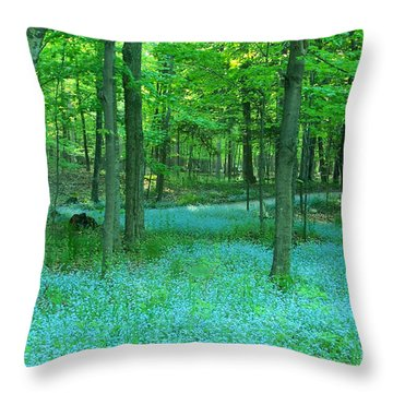 Forget-me-nots In Peninsula State Park Throw Pillow