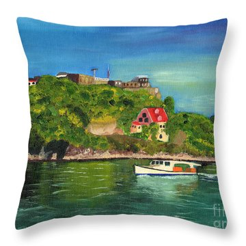 Throw Pillow featuring the painting Fort George Grenada by Laura Forde