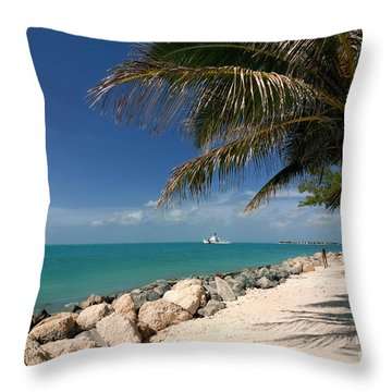 Fort Zachary Taylor Beach Throw Pillow by Amy Cicconi