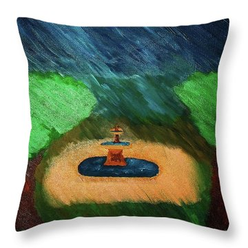 Fountain In The Midst Throw Pillow by Bamhs Blair