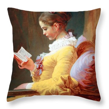 Throw Pillow featuring the photograph Fragonard's Young Girl Reading by Cora Wandel