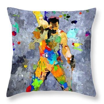 Freddie Mercury Throw Pillow by Daniel Janda