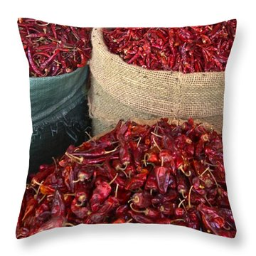Throw Pillow featuring the photograph Fresh Dried Chilli On Display For Sale Zay Cho Street Market 27th Street Mandalay Burma by Ralph A  Ledergerber-Photography